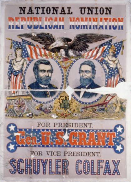 Stroia elezioni USA: manifesto Grant  e Colfax