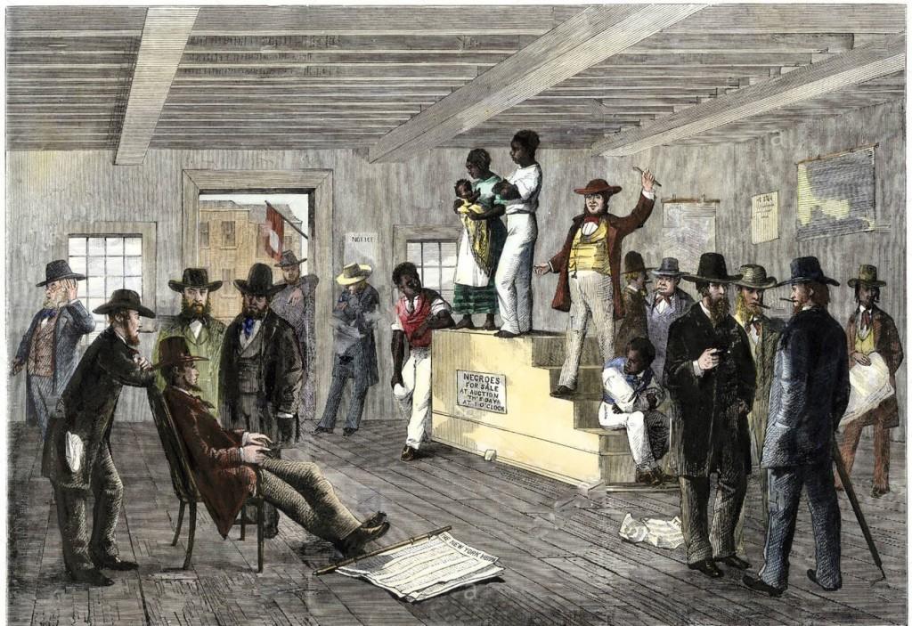 """Un'asta di schiavi intitolata """"Negroes for sale"""" nel sud degli Usa"""