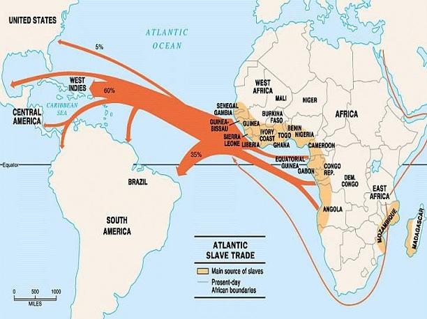 Un grafico che illustra i numeri della tratta atlantica degli schiavi